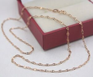 16.9inch New Pure 18K Rose Gold Necklace Women/'s 0.8mmW Perfect Link Lucky Chain