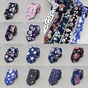 Classical-Wedding-Men-Floral-Print-Tie-Skinny-Slim-Cotton-Necktie-Flowers-6cm