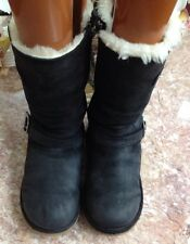 Ugg Australia Kensington Black 1969 Sheepskin Women Boot W Zipper size 4