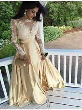 Two Pieces Prom Dresses Lace Long Sleeve Party Ball Formal Evening Gowns Custom