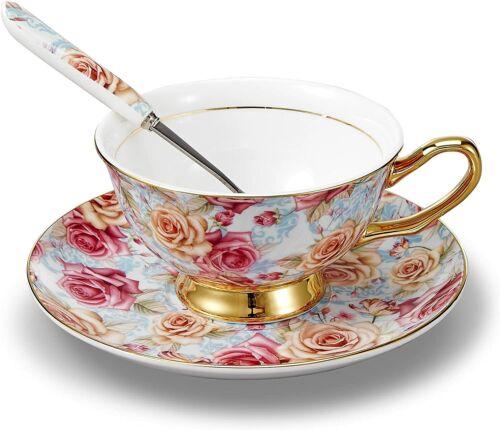 Panbado Bone China 3pcs Tea Coffee Cup Saucer Spoon Set Porcelain Ceramic Mugs