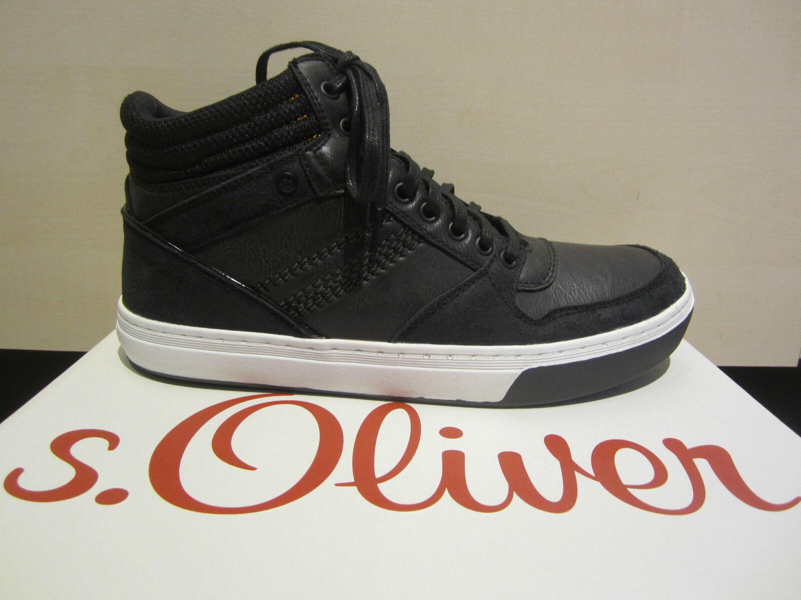 S. Oliver botas, Boots, ata, negro, forrajes textil, nuevo suela de caucho