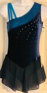 GK-ICE-FIGURE-SKATE-ADULT-SMALL-SAPPHIRE-VELVET-ASYM-FOIL-MESH-JA-DRESS-AS-NWT