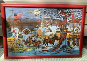 Framed-Charles-Wysocki-Small-Town-Christmas-Art-Print-Signed-Numbered-Limited-Ed