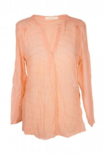 Mandala Pailletten-Bluse Tunika Shirt aus Seide Nude Apricot Größe S M L NEU
