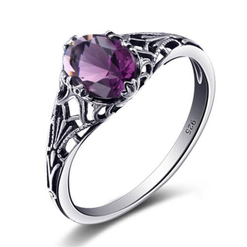925 Sterling Silver Ring Amethyst Gem February Birthstone Rings for women