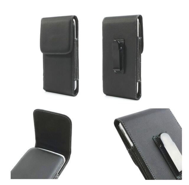 Leather flip belt clip metal case holster vertical for => Fujitsu Disney Mobile
