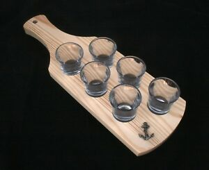 Anchor Set of 6 Shot Glasses with Wooden Paddle Tray Holder LpV4HROf-09102619-681160153