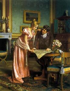 Dream-art-Oil-painting-Emil-Brack-Planning-the-Grand-Tour-young-lovers-in-room