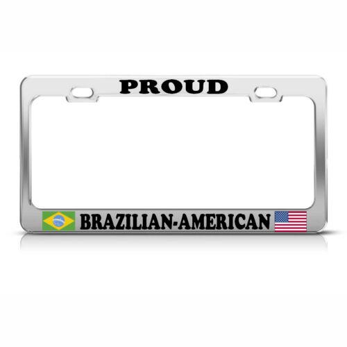 BRAZILIAN AMERICAN FLAGS Heavy Duty Metal License Plate Frame Tag Border