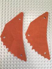2x LEGO Dk Orange Cloth Sail Triangular Tattered Edge Ewok Glider Wing 8038 MINT