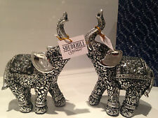 Shudehill Silver Rococo Mosaic Mirror Elephants Ornament Gift Figurines