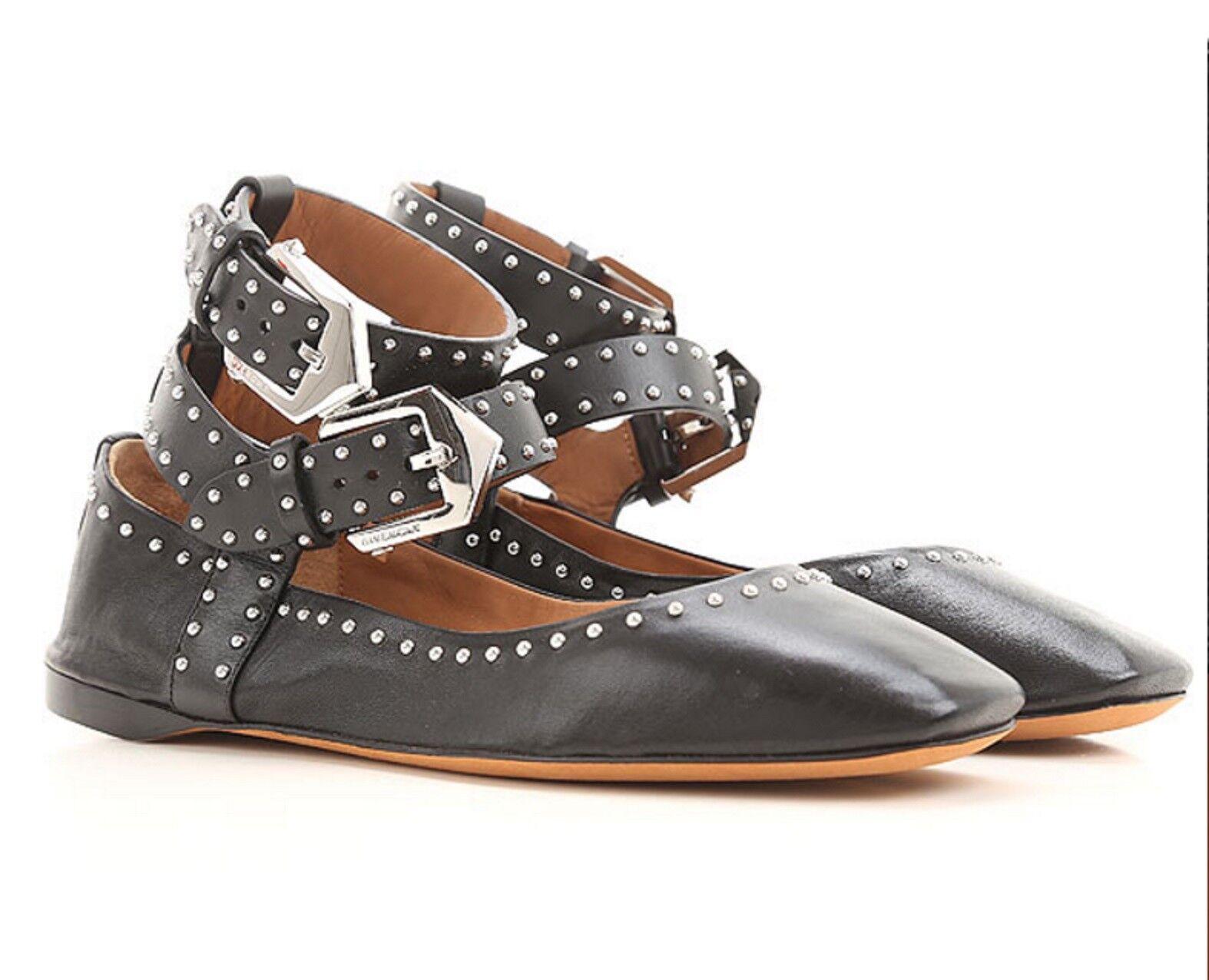 NWT Givenchy Leather Flats Elegant Soft Dual-Wrapped Dual-Wrapped Dual-Wrapped Lined Studded 36.5 51cdee
