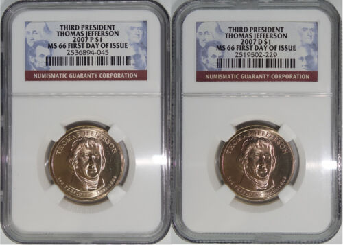 2007 P /& D 3rd President Thomas Jefferson MS66 First Day of Issue 2-Coin Set