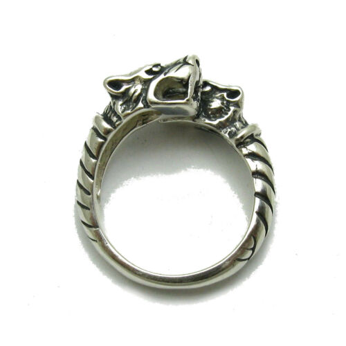 Sterling silver ring solid 925 two Wolves R001735 Empress