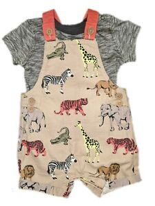 Ex-Nutmeg-Baby-Boys-Safari-Animals-Dungarees-amp-Top-Outfit-0-1-3-6-9-12-18-24