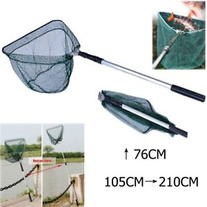 Folding-Handle-Fishing-Landing-Net-3-Section-Extending-Pole-Aluminum-Handle-NEW