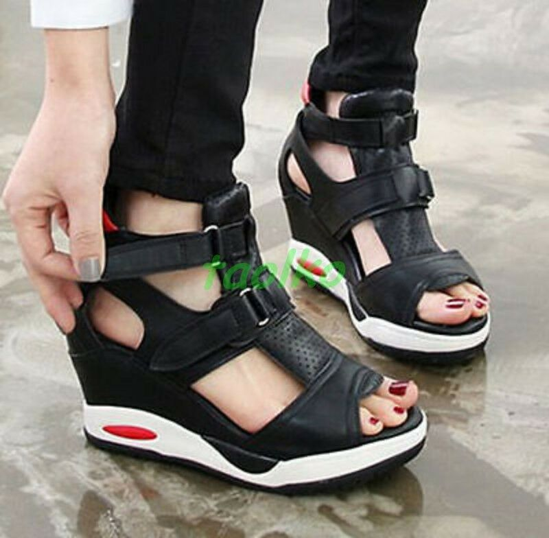 2015 New Womens Wedges Buckle Platform Open Toe Sports Sandals Fashion Sneakers