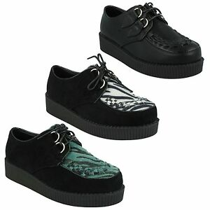 SALE-LADIES-SPOT-ON-LACE-UP-SUEDE-CASUAL-PLATFORM-WEDGE-CREEPERS-SHOES-F95588