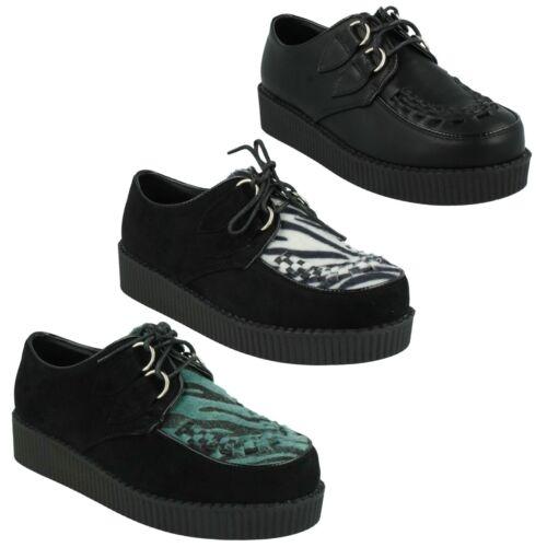 Venta señoras de punto en Cuña con Plataforma Con Cordones Creepers Zapatos informales Gamuza F95588