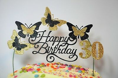 Hot Pink Birthday Cake Decoration Glitter Butterfly Topper Arch