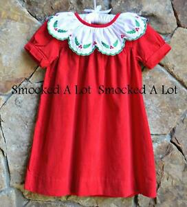 Smocked a lot girls bishop dress - Smocked A Lot Girls Christmas Dress Red Corduroy Holly Berry Scalloped