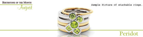 August Birthstone Rings QSK393 Silver Stackable Ring Round Peridot Stones