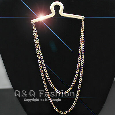Fab Chic Polish Gold Double Link Tie Chain Button Hole Men Jewellery Top Costume