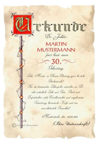 Urkunde 30 Geburtstag DIN A4  G4