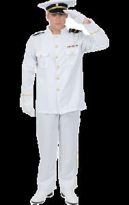Mens Naval Officer Captain Sailor Uniform Fancy Dress Costume