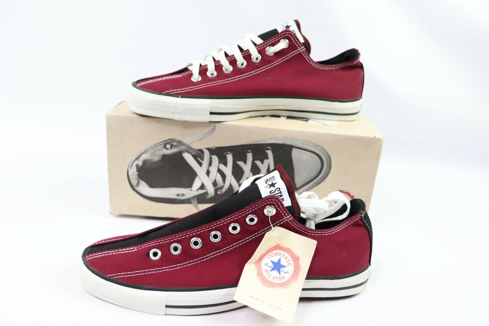 Vintage 90s New Converse All Star Low Mens 10 Chuck Taylor Bowling shoes Red USA