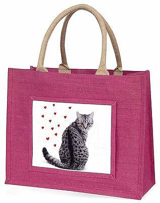 Silber Tabby Katze mit rotem Herzen groß pink Einkaufstasche WEIHNACHTEN PR,