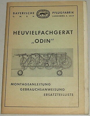 Farming & Agriculture Modest Operating Instructions/parts Catalog Bavarian Pflugfabrik Heuvielfachgerät
