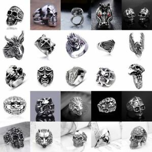 4ebd1453cab 316L Stainless Steel Steam Men Punk Ring Gothic Rings Cool Skull ...