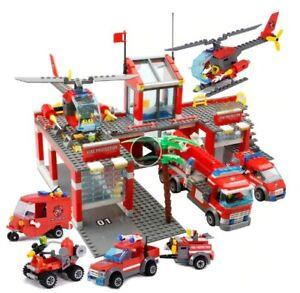 M-IDEA-REGALO-COSTRUZIONI-STAZIONE-CAMION-POMPIERI-AUTO-ELICOTTERO-TIPO-LEGO