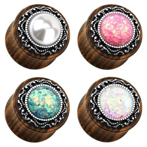 Madera orgánicos oreja bollos túnel Saddle ear Plug piercing tribal Opal /& perle