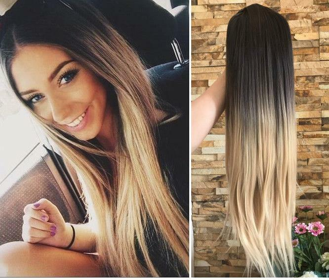Synthetic Long Straight Ombre Brown Blonde Hair Middle Part Wig For