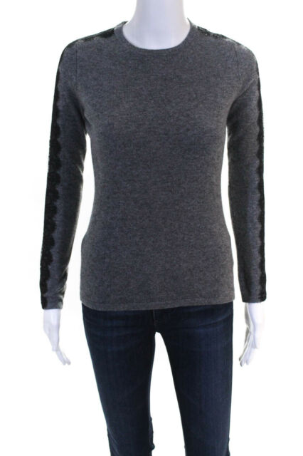 Neiman Marcus Womens Lace Trim Crew Neck Sweater Gray Size Extra Small