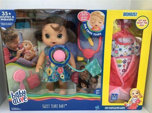 BABY ALIVE ~SWEET TEARS BABY BRUNETTE DOLL  SPEAKS ENGLISH OR SPANISH BONUS NEW
