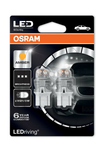Osram Premium LED W21//5W T20 Amber Indicator Light Bulbs 580 W3x16q 7915YE-02B