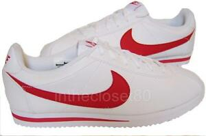 low priced 93d9c 003ca Image is loading Nike-Cortez-GS-Leather-White-Red-Juniors-Womens-