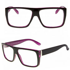 Flat Top Black Purple Designer Geek Clear Lens Glasses 80s NHS