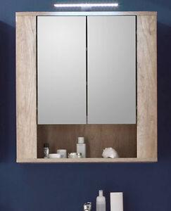 Details zu Spiegelschrank Bad Spiegel Schrank Eiche 70 cm Badezimmer Möbel  Beleuchtung Star