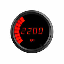 "Intellitronix Digital/Bargraph Memory Tachometer 3 3/8"" RED LEDs BLACK BEZEL USA"