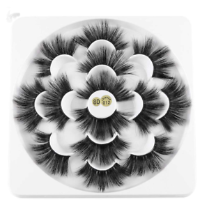 8D-Mink-Eye-Lashes-7-Pairs-25mm-Woman-039-Fashion-Wispy-Fluffy-Cruelty-free-Thick-L