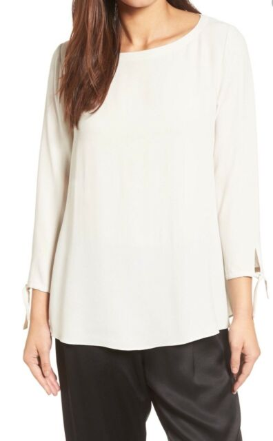 82e639ef5aa020 NWT $278 EILEEN FISHER BONE SILK GEORGETTE CREPE BATEAU NECK TIE SLEEVE TOP  XLRG