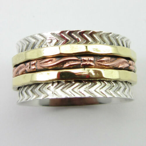 """Copper /& Brass Spinner Ring Band Antique Style Cadeau /"""" 3 tons/"""" 925 Argent Massif"""