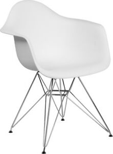 Mid Century Modern Contour Design Accent Dining Chair In White