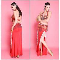 Sexy Professional Belly Dance Costumes Set Bra Top Belt Skirt 2 or 3 Pcs Sets