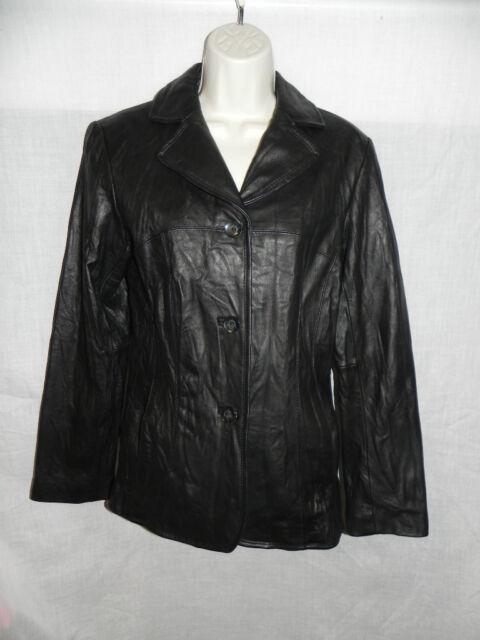 Black Rivet Womens Button Front Leather Jacket M Black Ebay